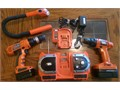 Black and Decker 18v and 12v drill one charger  a radio stand charger and a snake light 5000