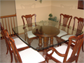broyhill dinning room table w 6 chairs padded seats great shape glass top 60000 call 815-382-6677