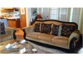 Sofa and love seat goldish velvet washable cushion covers and pillows black wood carved stain trim u