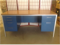Harpers classic mid-century modern cobalt blue steel desk with teak top  It has four drawers on