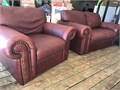 Leather love seat and chair with ottoman  burgundy color Clean