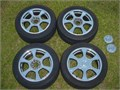 This is a nice set of 17 wheels and 225  50 x 17 tires The wheels are dual pattern with a 5 lug