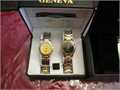 NEW 2PC GENEVA WATCH SET 1 mens and 1 womans  30 for both NICE HOLIDAYS PRESENTNUEVOS  2