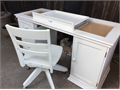 white Pottery Barn desk with hard drive storage drawers and chair 5000 818-577-8563