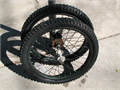 Two Bicycle Tires and Wheels 18 X 195 One Tire Needs inner Tube 900 951-530-7250
