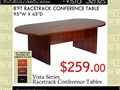 New 8ft racetrack conference table with panel leg bases  Size 43wide x 95long x 29high  Avail