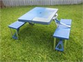 Folding Camping Table seats 4 adults folds up and carries like a suitcase 33 x 26 center umbrella