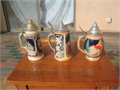 3 covered German beer steins auf der alm 9 tall Ein nettes magdlein lab mir 8 tall man playing