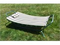 Freestanding hammock with steel tubular frame fabric with attached pillow - very good condition Ea