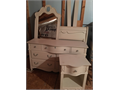 Full Size White Sleigh Bed night stand dresser and mirror Mattress and box spring included