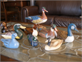 Beautiful vintage carved and hand-painted wooden ducks in xlnt conditon collected on travels durin