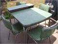 1950s Cracked Ice table w4 chairs  Green  All original  41 x 295 or 51 x 2950 with leaf