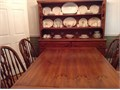 3 piece dining room suit Solid pine withleaf design Table with 6 chairs Large buffetwith lots