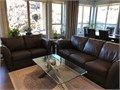 design high quality leather sofa and loveseat set Dark brown Like new condition