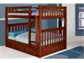 New solid wood full size over full size mission bunk bed with 3 drawer under chest or twin trundle