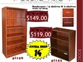 Cherry and mahogany laminate bookcases commercial quality 14 deep two sizes 65  36 high see