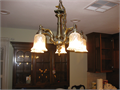 great hanging chandelier antique bronze finish works great can be swagged has 5 lights can shine u