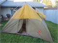 Camel 11 x 8 x 7 tall Cabin Tent nylon walls with a waterproof canvas roof OK Condition has a f