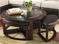 Chocolate Colored Circular Coffee Table wmatching slide-in 4 Ottomans  Glass Top Great condition