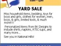 SaturdayOctober 14 20178am1pm YARD SALEMisc household items bedding toys for boys a