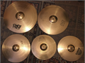 5 Sabian B8 cymbals used  2 14 hihats1 16 thin crash 1 18 thin crash  1 20 ride Cas