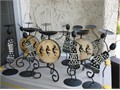 Super Rare And Beautiful Wrought Iron Candle Holder Set Excellent Condition Native American Figur