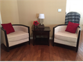 Model Home Furniture - 2 Barrel Back Shaped Chairs cream color dark wood trim and legs Seat d