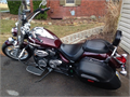 2009 Yamaha V Star 950 windshield leather saddle bagsVance Hines custom exhaust maroon color lic