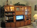 Gorgeous  Unique 3-piece Entertainment Center made of solid cherry wood with dual mirror bar tons