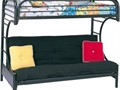 Twin Bed Double Futon Bunk Bed combo Black metal frameTwin Mattress and double Futon Mattress wi