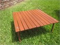 Camping ROLL-A-TABLE 30 X 30X 18H rolls up to 5-12 dia x 32 L MINT CONDITION Solid Wood cons