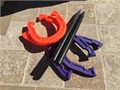 Sturdy hard plastic horseshoes set only used once  Not a kiddie set has weight and heft to it