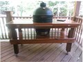 Large green egg with table Under covered porch excellent condition Lots of accessories included