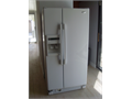 Compact white SxS refrigerator only 33 x 33 std height 67 OK for 28 counter ideal for smalle