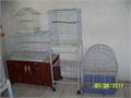 4 used different sizes bird cages one with rolling stand clean  in good condition Calltext me