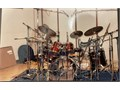 Yamaha recording custom drums Cherry redwood Remo pinstripe drum heads 6 8 10121315 r