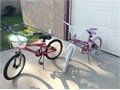 Girls bicycles 20 wheels  Need new inner tubes but in good shape one with basket is like new