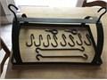 Black metal pot rack holds 8 potspans Looks great over kitchen island 12 14 X 20 14 X 12 tal