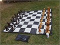 Teak Chess Set with an 8or 12 King  Nylon Chess Board