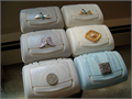 These are little treasures inside and out  Originally Cottonelle  containers revamped  Push the b