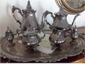 SILVERPLATED Coffee Tea Creamer Sugar WLID Salt  Pepper  Tray SET by  WALLACE pattern Baroq