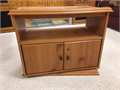 TV Stand Wood 24H x 20D x 31W Swivel base and interior shelving plus space for cable box or game