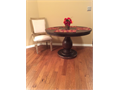 New Round Wooden Dining Table - Model Home Display Use Only - Dark Wood - 48 Diameter x 305 Hei