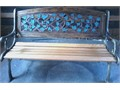Beautiful Bench -- 175 Newly varnished oak slats with copper bolts Ornate cast iron legs Metal v