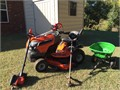 Husqvarna Lawn Tractor 48 Inch Cutting Deck Broadcast Spreader Weedeater Hedge Trimmer and Elect