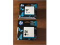 HP 56 black and 57 tri-color ink cartridges never opened  Retail for 31 and 52 respectively Ask