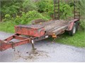 89 Hudson 2 Axle Equipment Trailer 9650GVWR 12Ft Deck Fold Up Ramps77In Between Fenders Pintle Hit