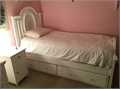 White Cinderella-style girls bedroom furniture set Includes twin bed trundle bed - rollout drawer