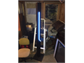 NEON Floor lamp blue neon with upward facing halogen lamp