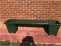 GREEN FIBERGLASS BENCH with flowers pots in booth sides 50